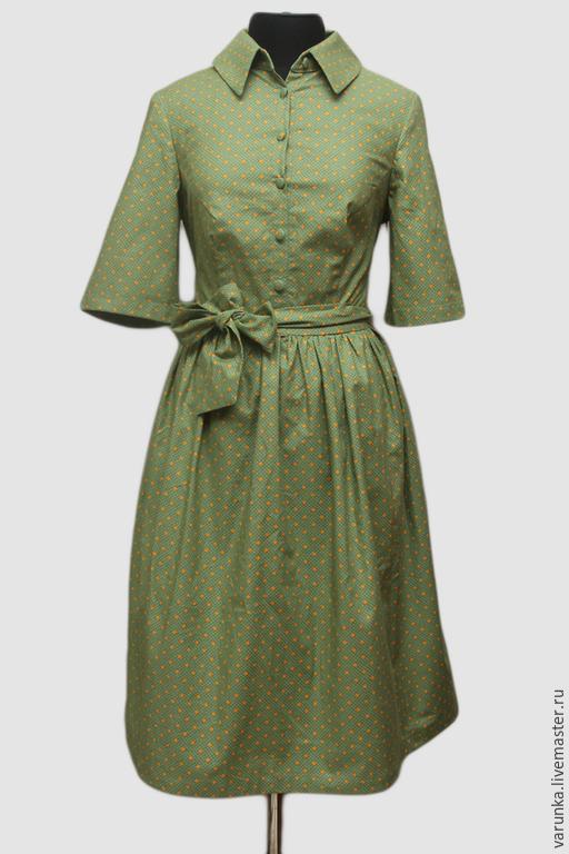 Платья ручной работы. Ярмарка Мастеров - ручная работа. Купить платье Зеленое в горошек. Handmade. Зеленый, варвара токарева