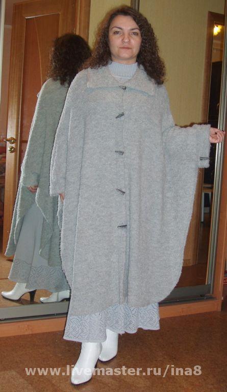 Poncho handmade. Livemaster - handmade. Buy Poncho knitted.Poncho, italian yarn, grey poncho, poncho-coat, easy poncho