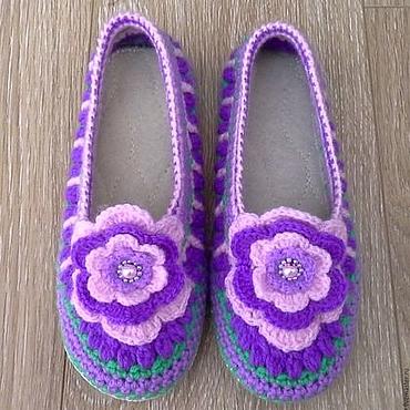 Обувь ручной работы. Ярмарка Мастеров - ручная работа Тапочки вязаные Лаванда. Handmade.