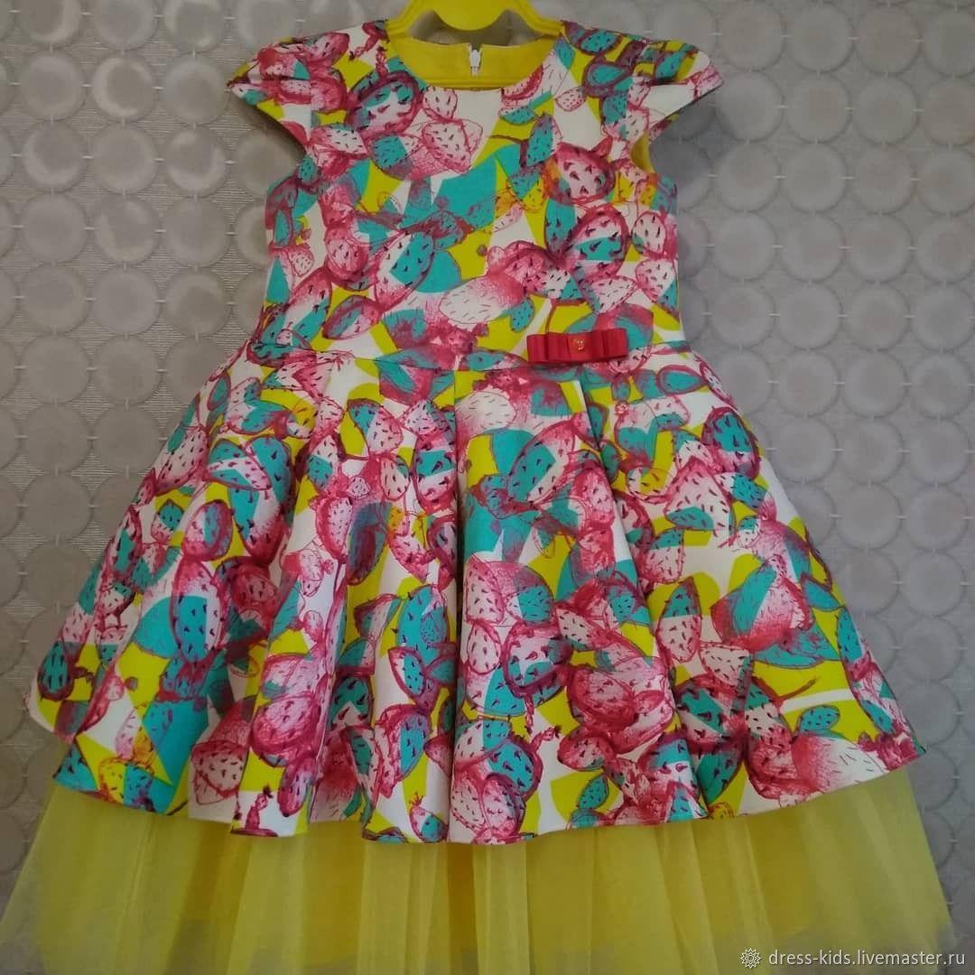 """Нарядное платье """" Веселые кактусы"""" с фатиновой юбочкой"""