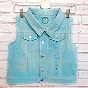 Одежда handmade. Livemaster - original item Women`s denim turquoise vest creative hand painted. Handmade.