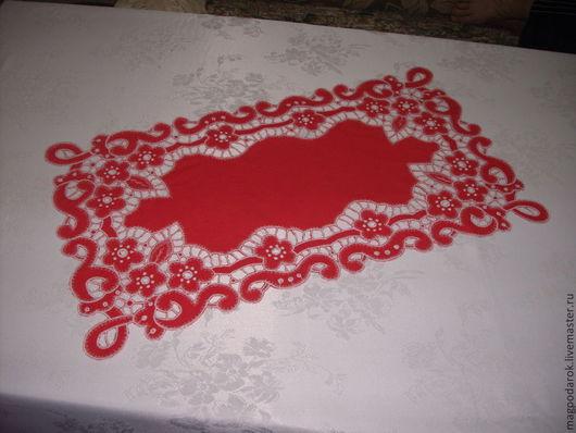 """Текстиль, ковры ручной работы. Ярмарка Мастеров - ручная работа. Купить Салфетка красная """"Ажур"""". Handmade. Ярко-красный"""
