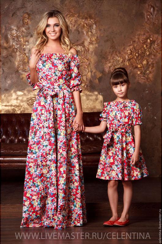 family look, одинаковая одежда для мамы и дочки, детское платье из хлопка, платье для мамы и дочки, одинаковые платья, красное платье, платье в пол летнее, платье из хлопка, платье для дочки, красный