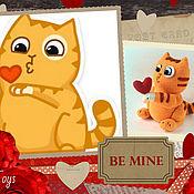 Материалы для творчества ручной работы. Ярмарка Мастеров - ручная работа МК по вязанию стикера кот Персик с сердечком. Handmade.