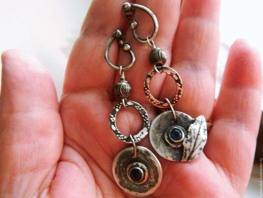 Серьги ручной работы. Ярмарка Мастеров - ручная работа. Купить Серьги- пусеты ЛИСТ (серебро). Handmade. Тёмно-синий, серебряный