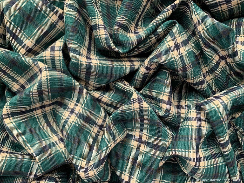 Ткань Костюмная Изумрудная Клетка Шотландка на Бежевом Италия, Ткани, Москва,  Фото №1