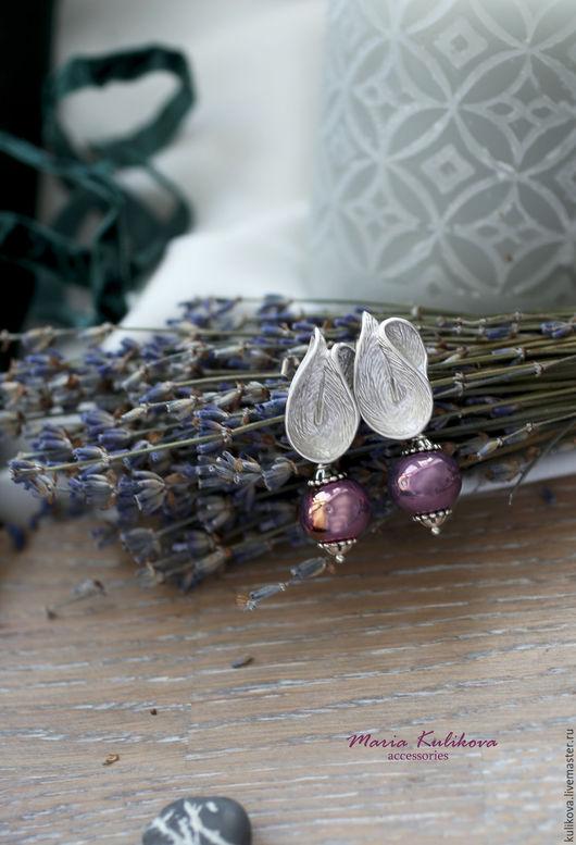 """Серьги ручной работы. Ярмарка Мастеров - ручная работа. Купить """"Цветок орхидеи"""" серьги с керамическими бусинами. Handmade. Сиреневый, фурнитура"""