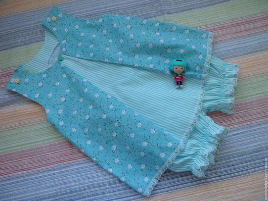 Одежда для девочек, ручной работы. Ярмарка Мастеров - ручная работа. Купить КОМПЛЕКТ для девочки Лето со вкусом мяты. Handmade.