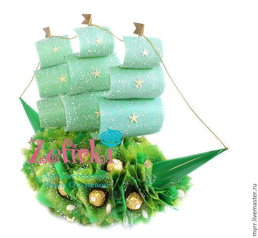 Подарки для мужчин, ручной работы. Ярмарка Мастеров - ручная работа. Купить Корабль из конфет зелёный  Подарок мужчине  День Рождения. Handmade.