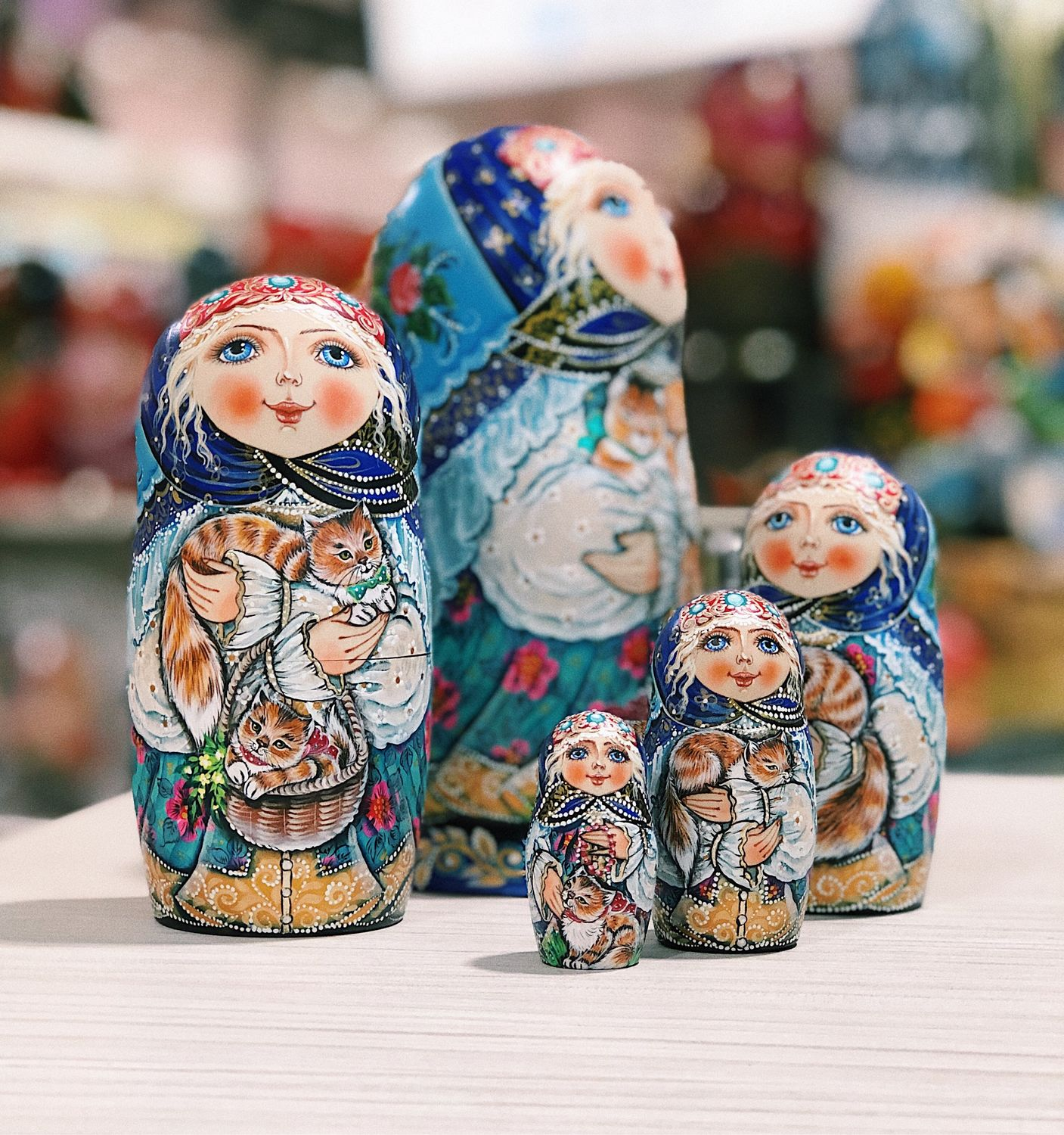 Matryoshka with cats 18 cm, 5 places, Dolls1, Moscow,  Фото №1
