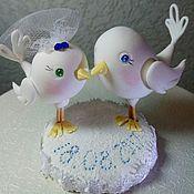 Декор торта ручной работы. Ярмарка Мастеров - ручная работа Голубки на свадебный торт. Handmade.