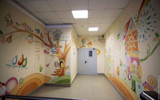 Декор поверхностей ручной работы. Ярмарка Мастеров - ручная работа. Купить Роспись стен в детском саду. Handmade. Разноцветный