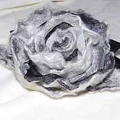 Украшения ручной работы. Ярмарка Мастеров - ручная работа Серая роза из шерсти и органзы. Handmade.