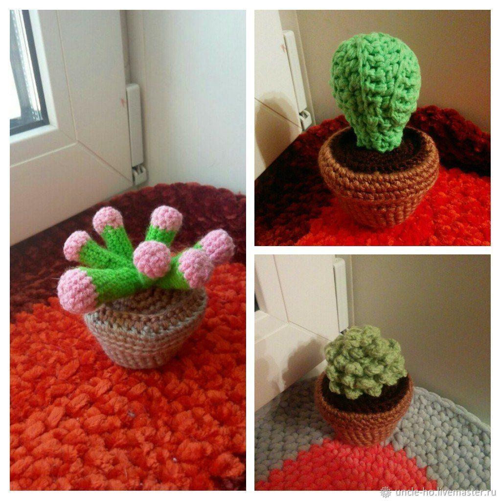 вязаные кактусы купить в интернет магазине на ярмарке мастеров с