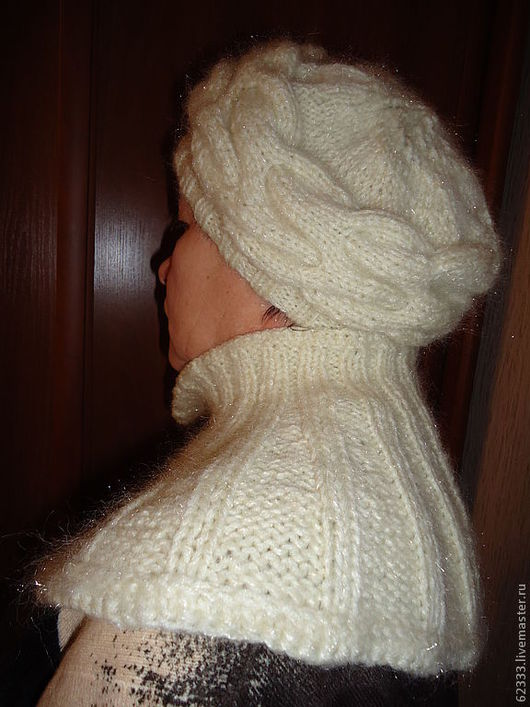 """Шляпы ручной работы. Ярмарка Мастеров - ручная работа. Купить Берет с пелериной """"Магия белого"""". Handmade. Любая пряжа"""