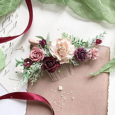 Украшения ручной работы. Ярмарка Мастеров - ручная работа Гребень с бордовыми цветами, гребень для невесты. Handmade.