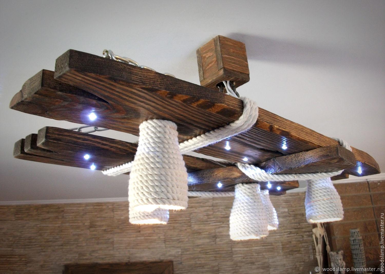 Декор люстры брусочками своими руками фото кантри