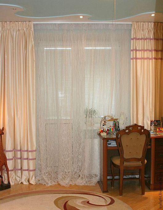 Текстиль, ковры ручной работы. Ярмарка Мастеров - ручная работа. Купить Шторы с полосками. Handmade. Шторы, шторы для гостиной, органза