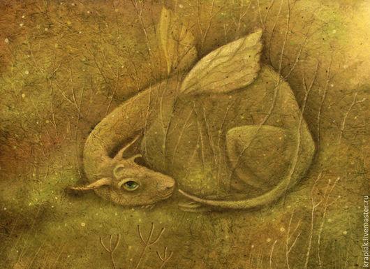 Фантазийные сюжеты ручной работы. Ярмарка Мастеров - ручная работа. Купить Зеленое имя...Картина-принт на холсте.. Handmade. Оливковый