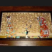 """Картины и панно ручной работы. Ярмарка Мастеров - ручная работа Картина на стекле """"Древо жизни"""" по мотивам работы Г.Климта. Handmade."""