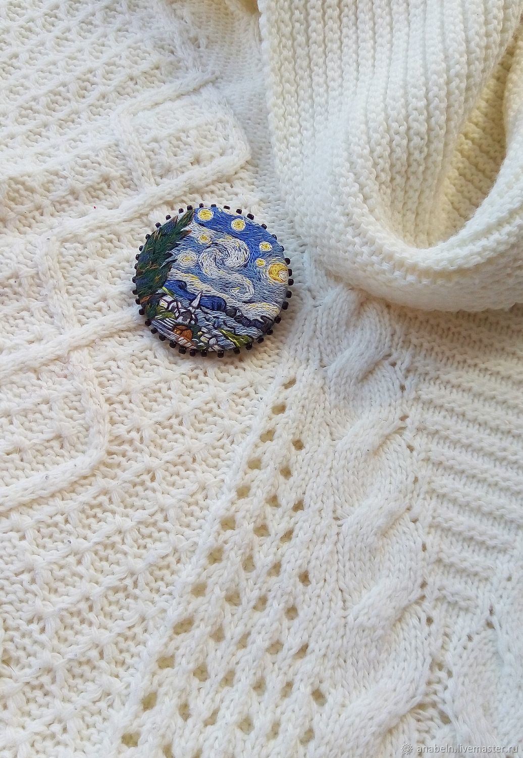 painting van by embroidered starry vincent on the brooch item based fabric embroidery night