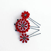 Свадебный салон ручной работы. Ярмарка Мастеров - ручная работа Комплект шпилек для волос с красными цветами. Handmade.