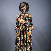 Одежда ручной работы. Ярмарка Мастеров - ручная работа Платье цветы на черном. Handmade.
