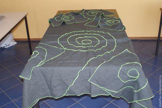 Текстиль, ковры ручной работы. Ярмарка Мастеров - ручная работа. Купить Столовый комплект из льна Лабиринт. Handmade. Темно-серый