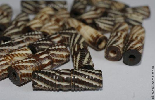 Для украшений ручной работы. Ярмарка Мастеров - ручная работа. Купить Бусины из кости темные резные трубочки. Handmade. этно