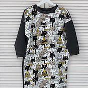Одежда ручной работы. Ярмарка Мастеров - ручная работа Платье-свитшот с рисунком. Handmade.