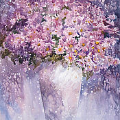 Картины и панно handmade. Livemaster - original item Watercolor painting with chrysanthemums. The last chord.. Handmade.