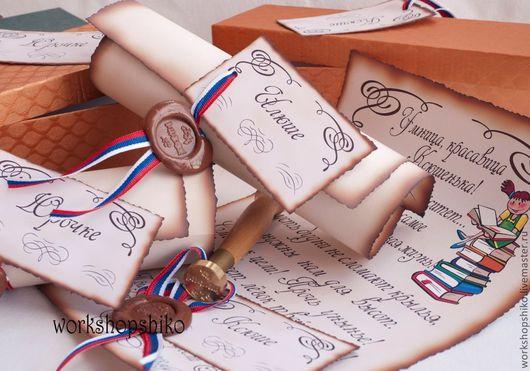 Персональные подарки ручной работы. Ярмарка Мастеров - ручная работа. Купить Поздравительные свитки учителям и выпускникам. Handmade. Поздравление, с праздником