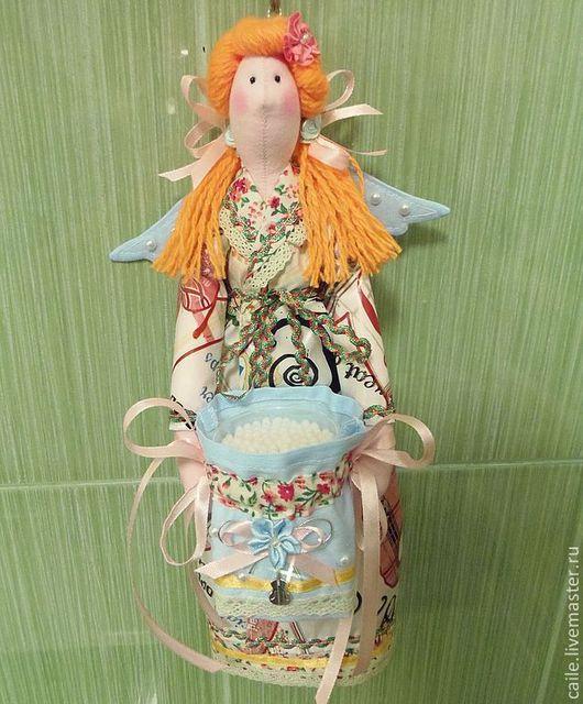 Ванная комната ручной работы. Ярмарка Мастеров - ручная работа. Купить Хранительница ватных дисков и палочек-5. Ангел Тильда. Handmade.
