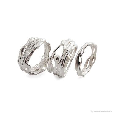 """Украшения ручной работы. Ярмарка Мастеров - ручная работа Сет 3 кольца на фаланги """"Плавленное серебро"""". Handmade."""