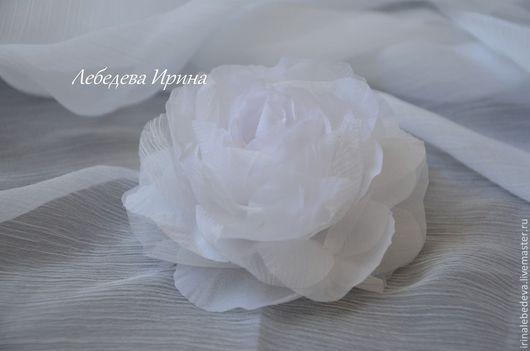 Заколки ручной работы. Ярмарка Мастеров - ручная работа. Купить Цветы из шелка. Роза в прическу. Handmade. Белый, цветы из шелка
