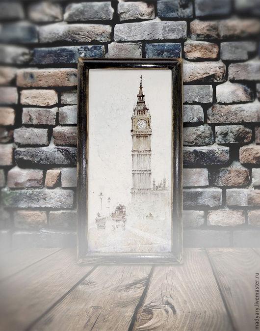 Пейзаж ручной работы. Ярмарка Мастеров - ручная работа. Купить картина акварелью А в Лондоне туман ( в состаренной раме, лофт). Handmade.