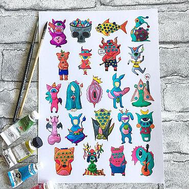 Сувениры и подарки ручной работы. Ярмарка Мастеров - ручная работа Стикеры для взрослых. Handmade.