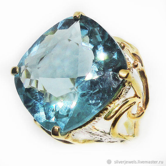 Author's ring made of 925 silver with large blue quartz and gold plating, Rings, Moscow,  Фото №1