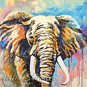 """Картины и панно handmade. Livemaster - original item Картина слон """"Африканское Сафари"""" 60 х 80 холст. Handmade."""