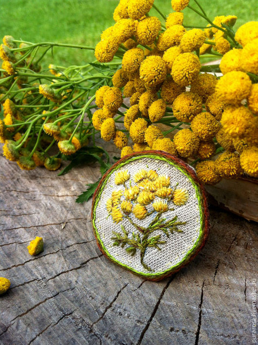 Броши ручной работы. Ярмарка Мастеров - ручная работа. Купить Брошь ПИЖМА. Handmade. Желтый, полевые цветы и травы, деревня