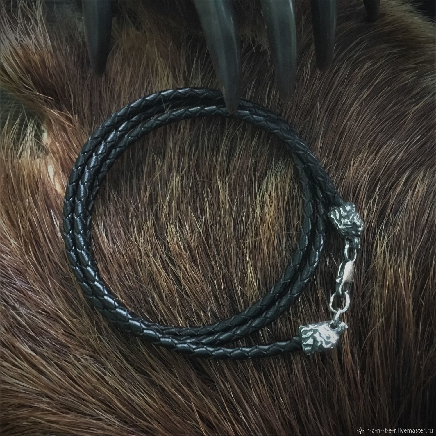 Leather cord braided 'wolves' 6 mm, Folk decorations, Kostroma,  Фото №1