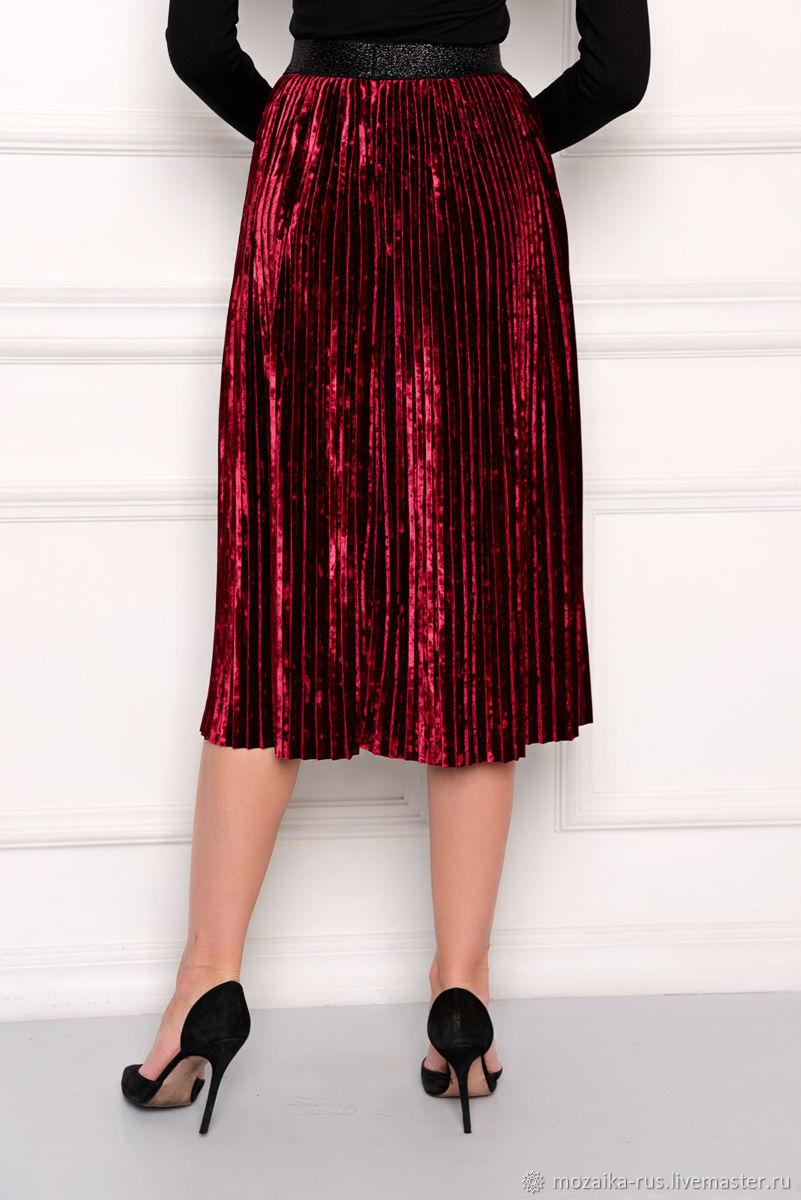 Pleated skirt made of velvet Bordeaux. mozaika-rus. My Livemaster