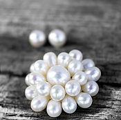 Украшения ручной работы. Ярмарка Мастеров - ручная работа Брошь натуральный жемчуг Only pearls подарок жене на 8 марта. Handmade.