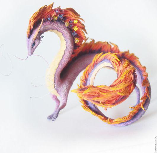 """Сказочные персонажи ручной работы. Ярмарка Мастеров - ручная работа. Купить статуэтка """"Дракон с цветами""""(весенний дракон рассвета, дракон девочка). Handmade."""