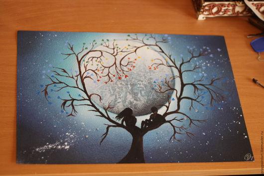 Фантазийные сюжеты ручной работы. Ярмарка Мастеров - ручная работа. Купить Уникальные картины Spray Paint Art (аэрография) Любовь. Handmade.