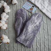 Аксессуары handmade. Livemaster - original item Felted mittens,warm woolen gray mittens made of natural wool. Handmade.