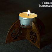 Для дома и интерьера ручной работы. Ярмарка Мастеров - ручная работа Подсвечник деревянный, коричневый. Handmade.