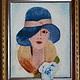 """Люди, ручной работы. Ярмарка Мастеров - ручная работа. Купить Картина из шерсти """"Девушка в шляпке"""". Handmade. Разноцветный, живопись шерстью"""