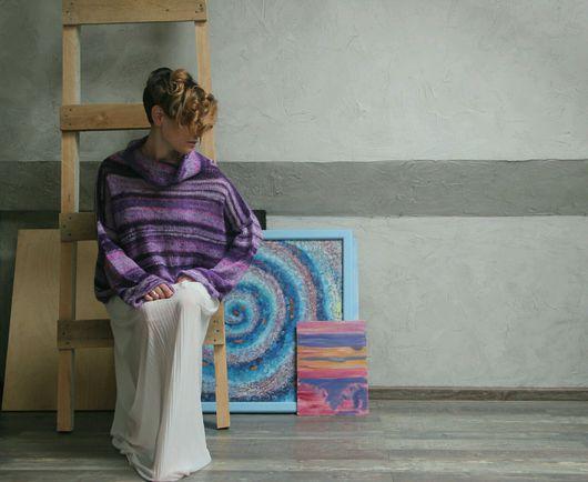 """Кофты и свитера ручной работы. Ярмарка Мастеров - ручная работа. Купить Свитер в стиле кимоно """"Крокус"""". Handmade. Кимоно, крокус"""