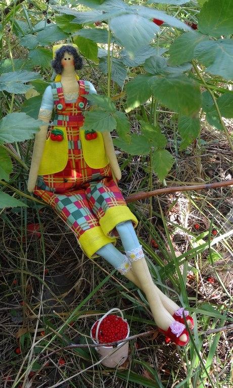 Интерьерная кукла тильда Садовница Агнешка. Кукла ручной работы. Купить подарок. HandMade. Разноцветный.